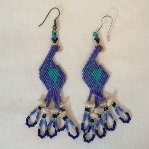 2/$15 Vintage Peacock Beaded Artisan Bird Earrings